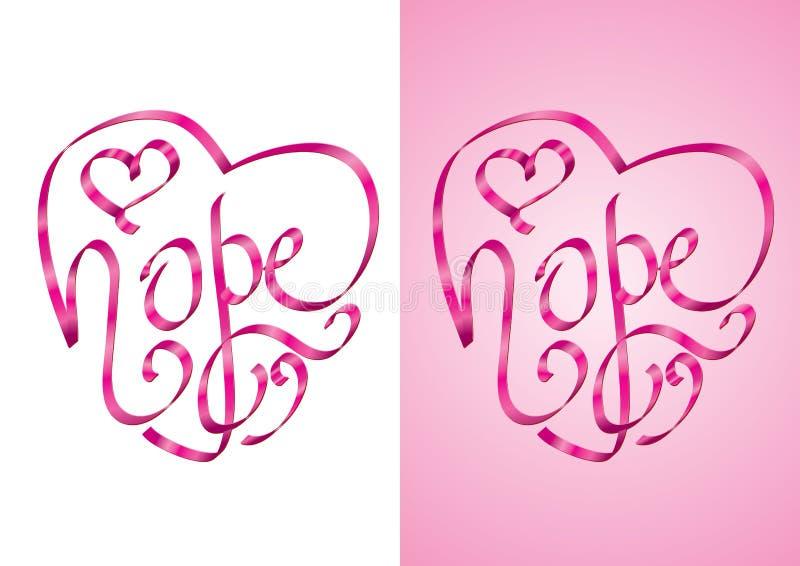 Speranza - calligrafia di figura del cuore con il nastro royalty illustrazione gratis