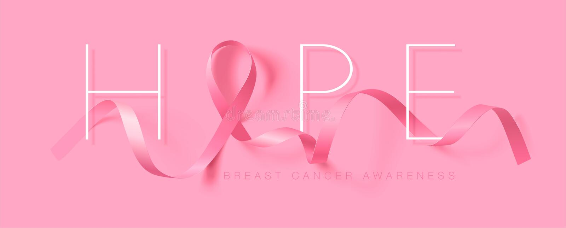 Speranza Progettazione del manifesto di calligrafia di consapevolezza del cancro al seno Nastro rosa realistico Ottobre ? mese di royalty illustrazione gratis