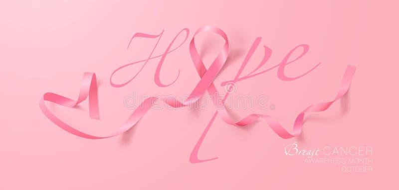 Speranza Progettazione del manifesto di calligrafia di consapevolezza del cancro al seno Nastro rosa realistico Ottobre ? mese di illustrazione vettoriale