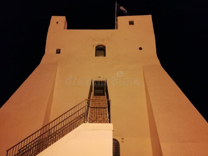 Sperlonga - Torre Truglia en la noche imágenes de archivo libres de regalías