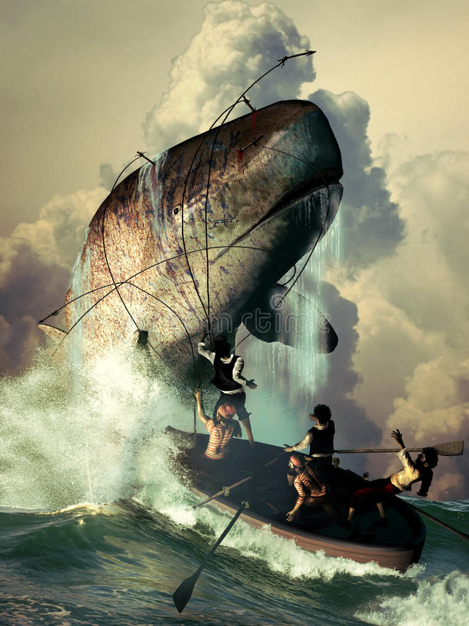 Sperm whale attack. Several sailors in a boat, throwing harpoons against a sperm whale which answers their attack royalty free illustration