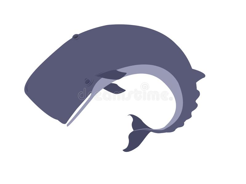 Sperm whale dead and gone vector illustration