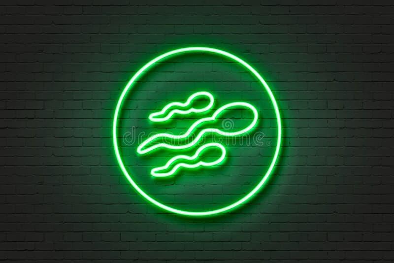 Sperma dell'icona della luce al neon illustrazione vettoriale
