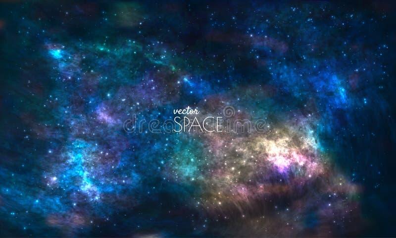 Sperren Sie Galaxie-Hintergrund mit Nebelfleck, stardust und hellen glänzenden Sternen Vektorillustration für Ihr Design, Grafike lizenzfreie abbildung