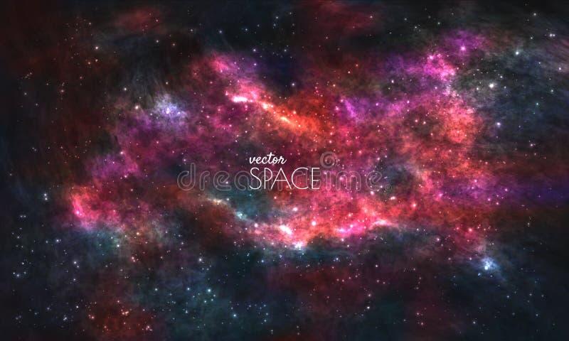 Sperren Sie Galaxie-Hintergrund mit Nebelfleck, stardust und hellen glänzenden Sternen Vektorillustration für Ihr Design, Grafike vektor abbildung