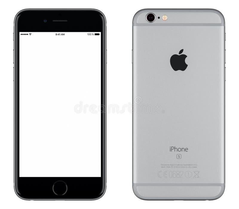 Sperren Sie Gray Apple-iPhone 6s Vorderansicht Modells und Rückseite