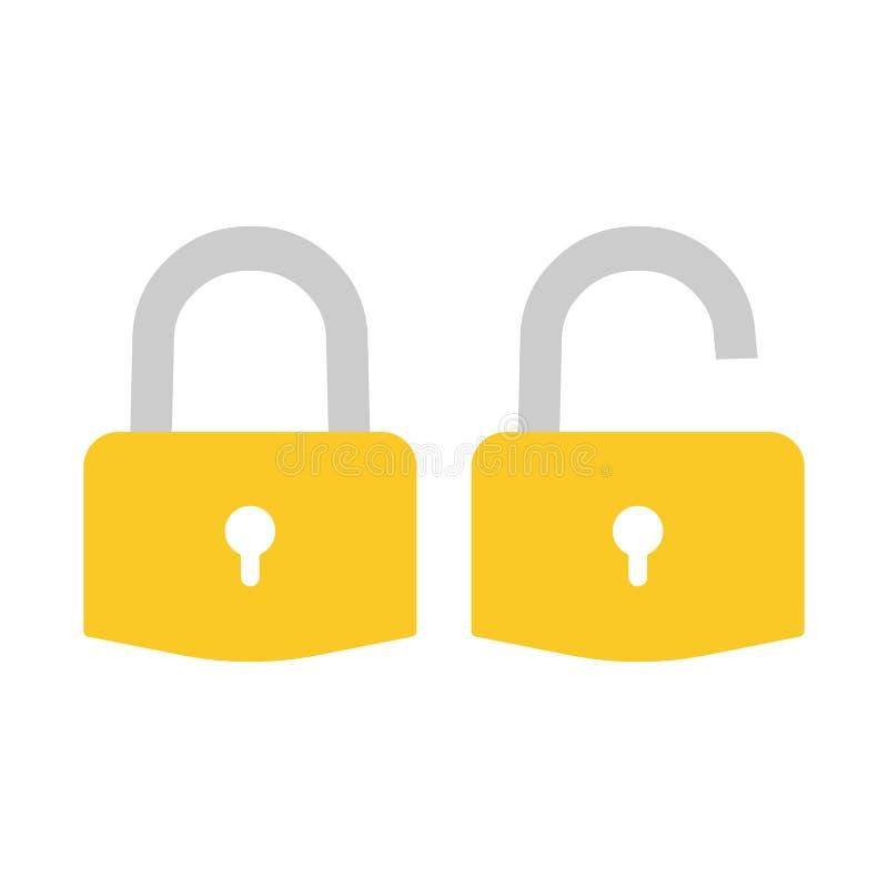 Sperren Sie Ikone Vorhängeschlosszeichen unlock Auch im corel abgehobenen Betrag Flaches Design stock abbildung