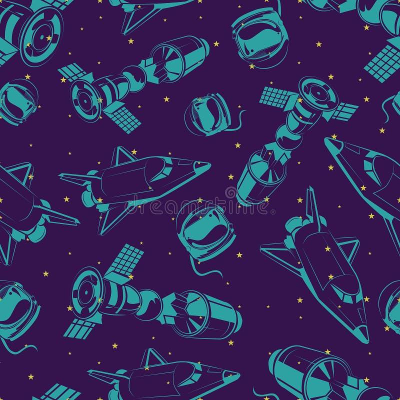 Sperren Sie nahtloses Muster mit Shuttle, internationaler Weltraumstation und Sternen stock abbildung