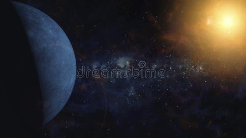 Sperren Sie Szene des Planeten des blauen Rocks mit schwer cratered umkreisendem rotem Oberflächenstern Weltraum, kosmische Kunst stock abbildung