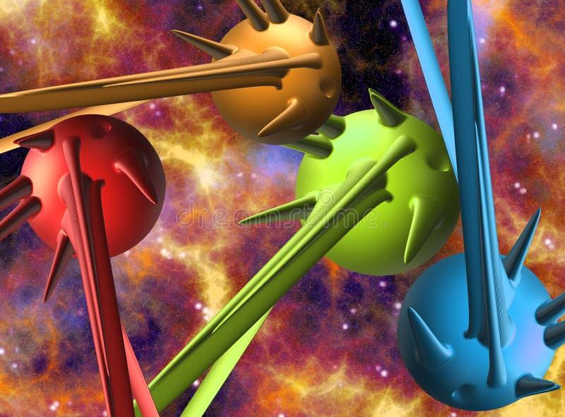 Sperren Sie Szene mit Illustration der Planeten 3D/der Raumschiffe lizenzfreie abbildung