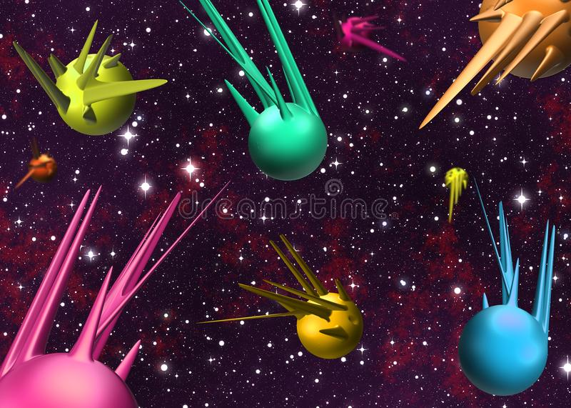 Sperren Sie Szene mit Illustration der Planeten 3D/der Raumschiffe vektor abbildung
