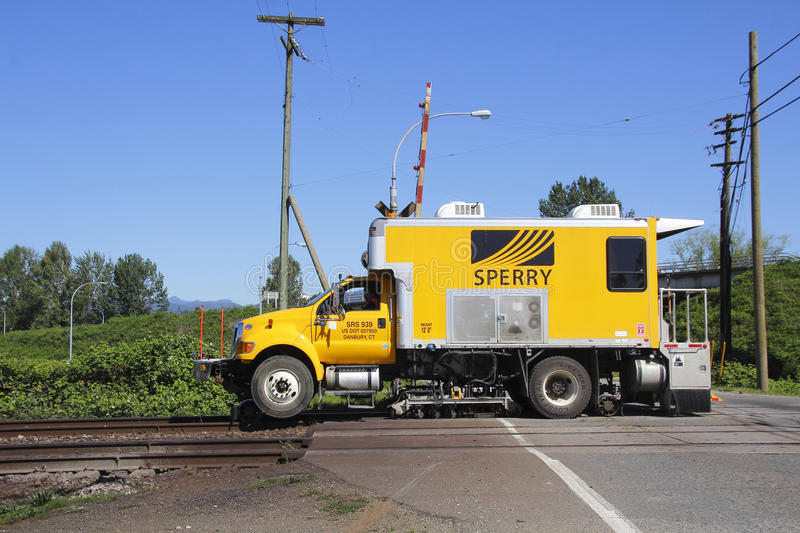 Sperry Rail Flaw Detector. A state-of-the-art rail car used to inspect flaws, problems or issues in railway track royalty free stock images