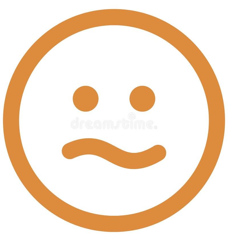 speszona twarz, emoticons Wektorowa Odosobniona ikona kt?ra mo?e ?atwo redagowa? lub modyfikowa? ilustracja wektor