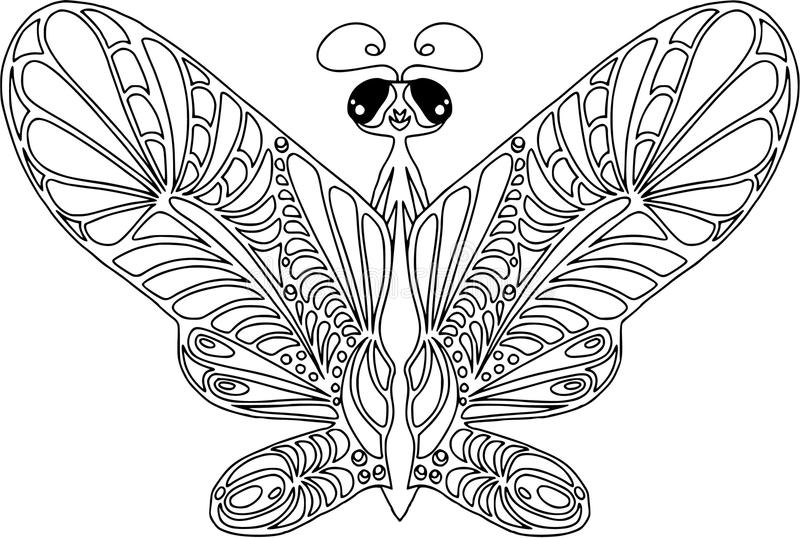 Spets- fjäril som färgar Isolerat på vit, lägenhetstil som är svartvit vektor illustrationer