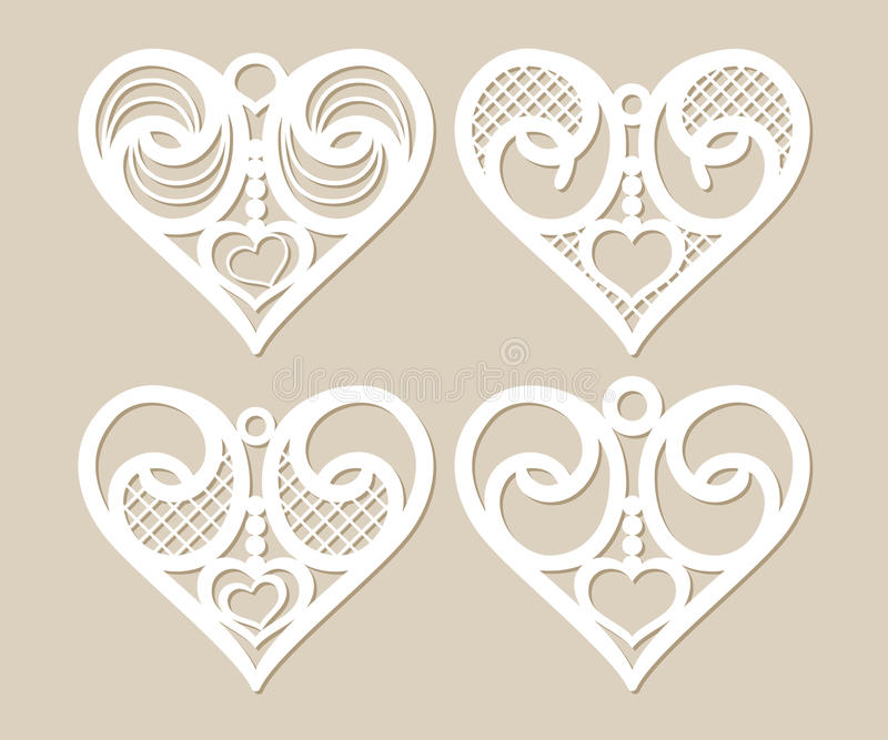 Spets- hjärtor för fastställd stencil med den openwork modellen royaltyfri illustrationer