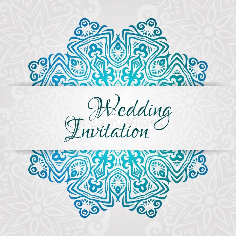 Spets- mall för vektorbröllopkort Romantisk tappningbröllopinbjudan Blom- prydnad för abstrakt cirkel royaltyfri illustrationer