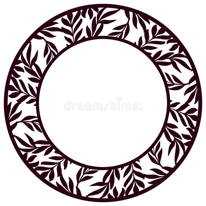 Spets- rund ram för vektorstencil med sniden blom- openwork patt vektor illustrationer