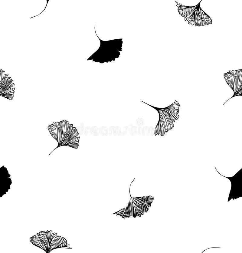 Spets- svartvit spiral modell Sömlös abstrakt bakgrund, dekorativ textur stock illustrationer