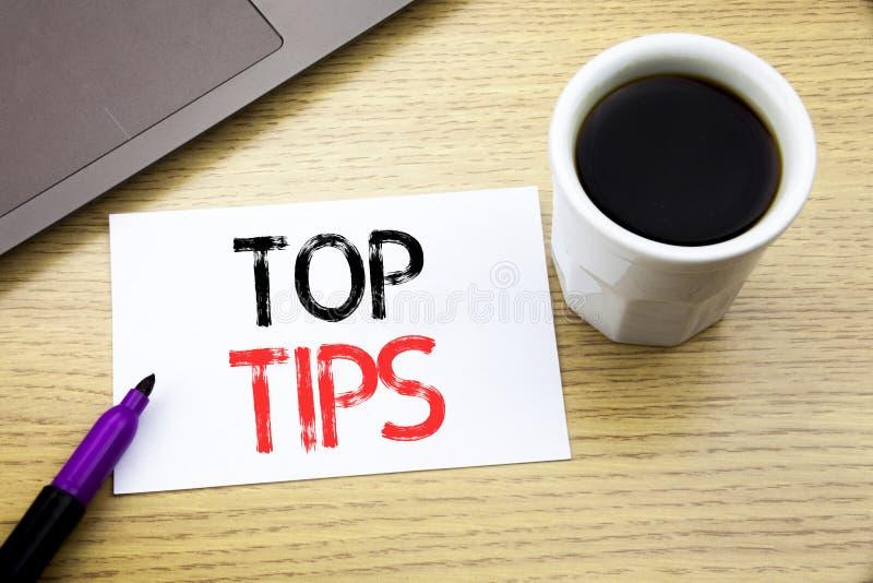 Spetsar för överkant för visning för handskriftmeddelandetext Affärsidé för sakkunnig spetsvägledning som är skriftlig på anteckn fotografering för bildbyråer