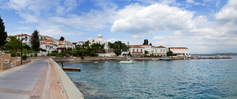 Spetses island waterfront, Greece stock image