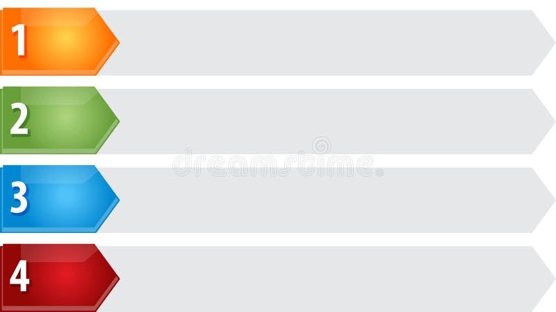 Spetsiga för affärsdiagram för lista fyra tom illustration royaltyfri illustrationer
