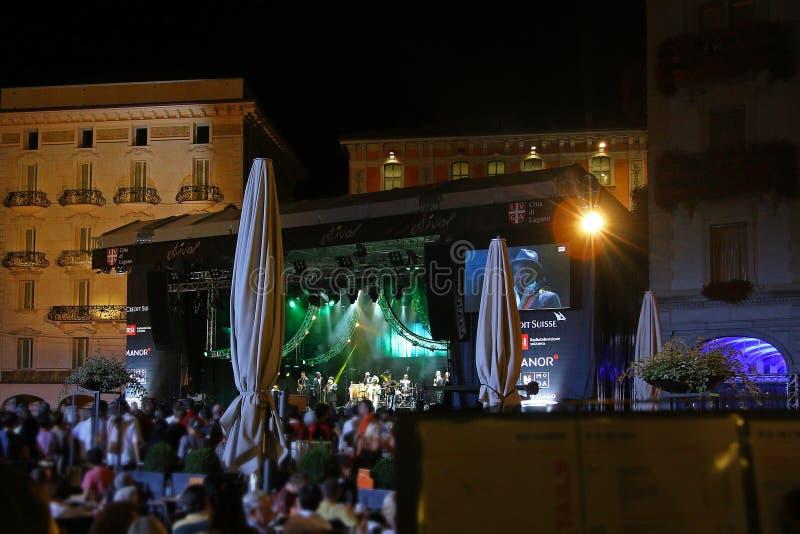 Spettacolo dal vivo a jazz estivo a Lugano fotografia stock