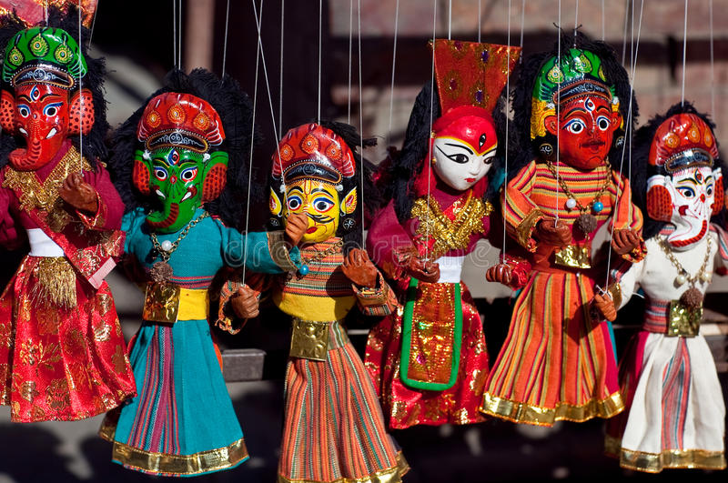 Spettacolo di burattini nepalese fotografie stock