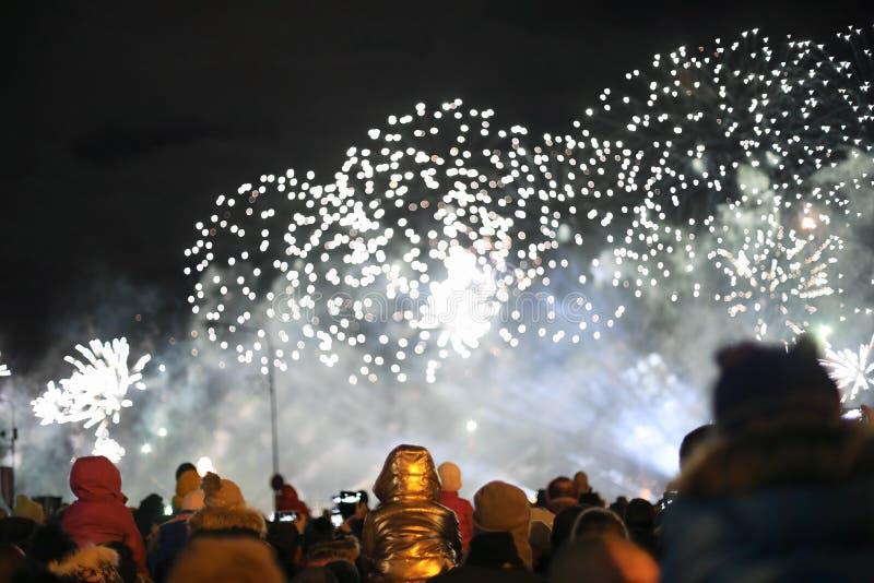 Spettacolo di luci nel cielo notturno fotografia stock libera da diritti