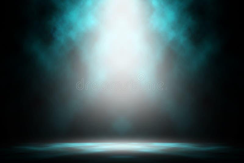 Spettacolo scuro dello studio del fumo di notte blu di manifestazione in scena fotografia stock
