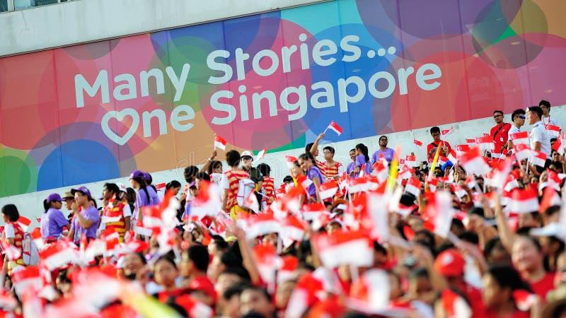 Spettatori che ondeggiano le bandiere di Singapore durante la ripetizione 2013 di parata di festa nazionale (NDP) immagini stock