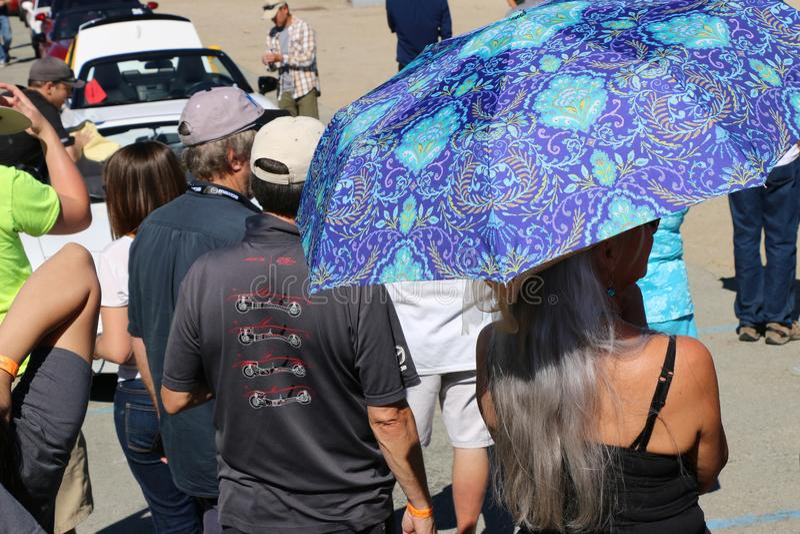 Spettatori, circuito automobilistico di Mazda Laguna Sega, California fotografia stock