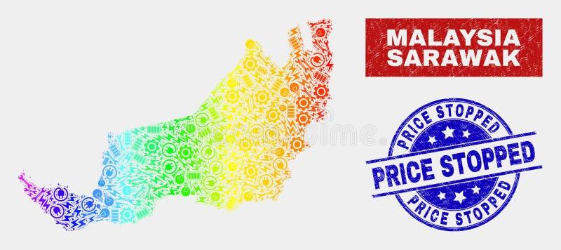 Spettrale monti la mappa dello stato di Sarawak e le guarnizioni graffiate del bollo fermate prezzo illustrazione vettoriale
