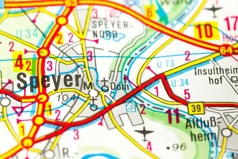 Speyerkathedraal op kaart, Speyer, Rijnland-Palatinaat royalty-vrije stock foto's