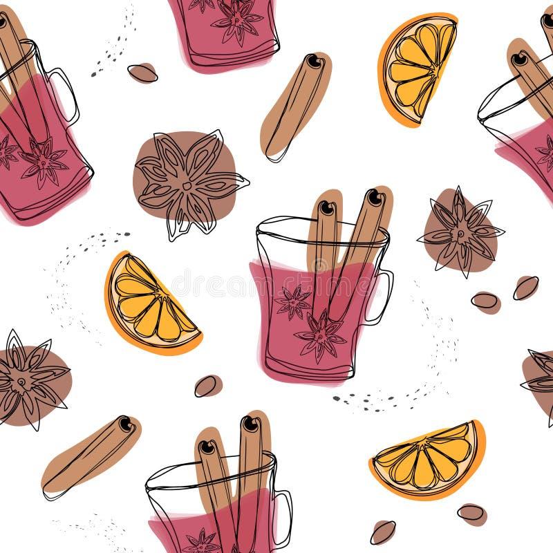 Spezia di inverno di Natale Modello senza cuciture di vettore decorativo con le spezie e gli ingredienti per vin brulé Arancia, m illustrazione di stock