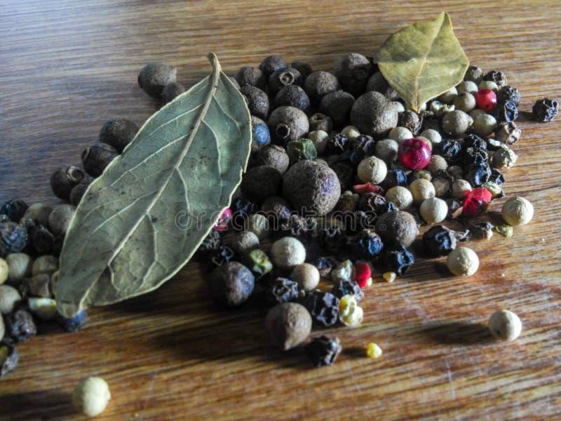 Spezia naturale dei grani del pepe nero immagini stock libere da diritti