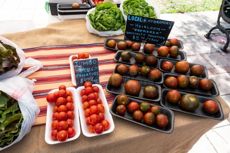 Spezialitätentomaten und -kopfsalate an einem Obst- und Gemüse Landwirtmarkt des Stands an einem Samstag Morgen lizenzfreie stockbilder