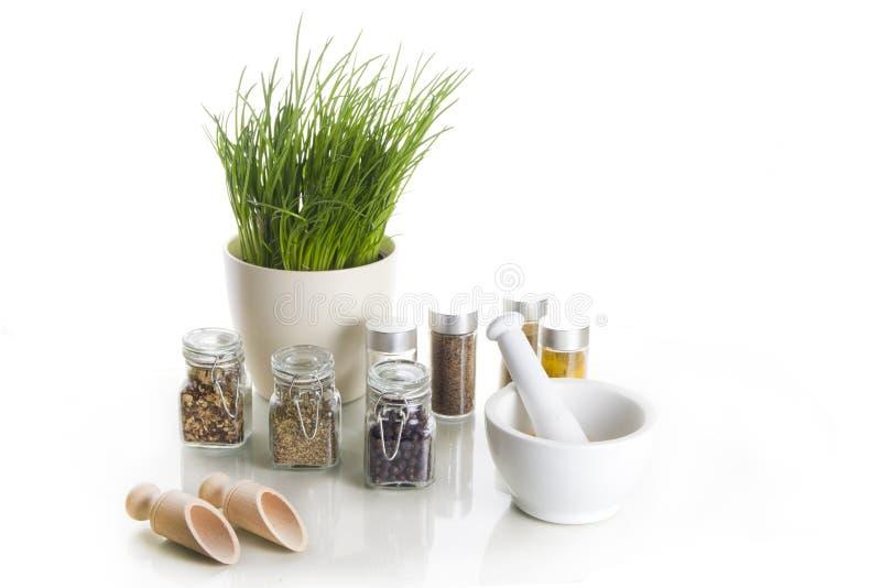 Spezie con la erba cipollina ed il mortaio fotografia stock