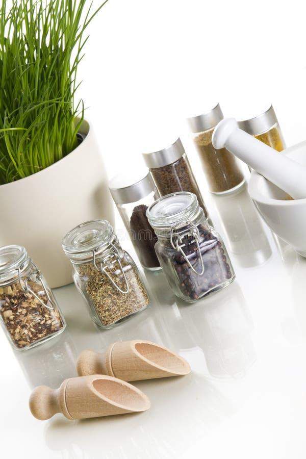 Spezie con la erba cipollina ed il mortaio immagini stock libere da diritti