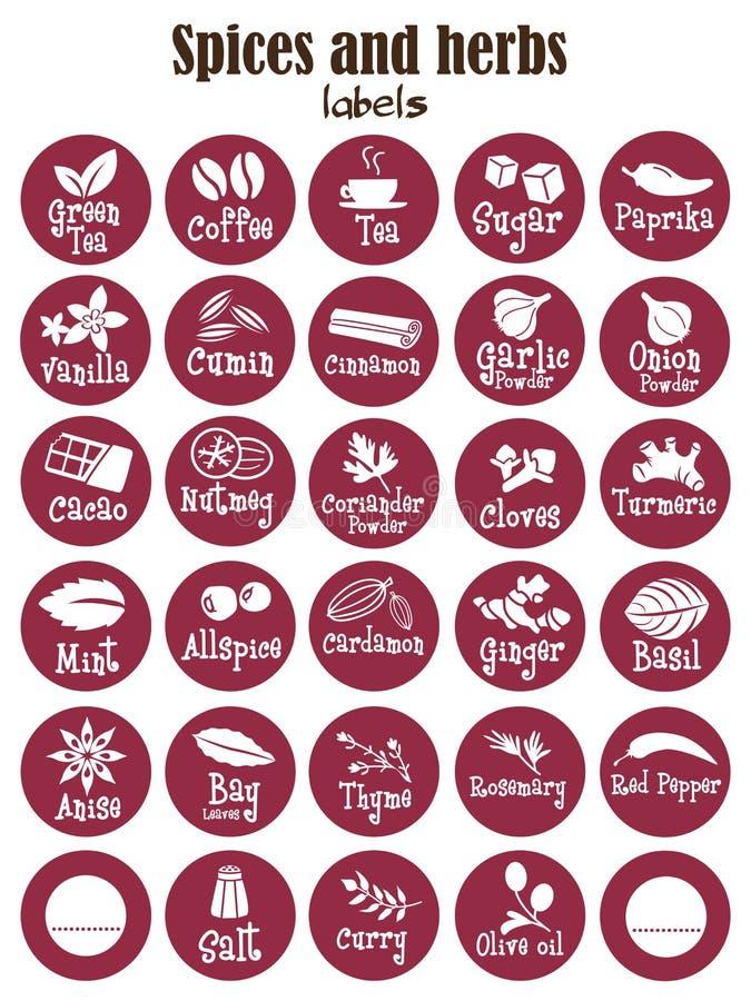 Spezie, condimenti ed erbe icona o autoadesivi del barattolo illustrazione di stock