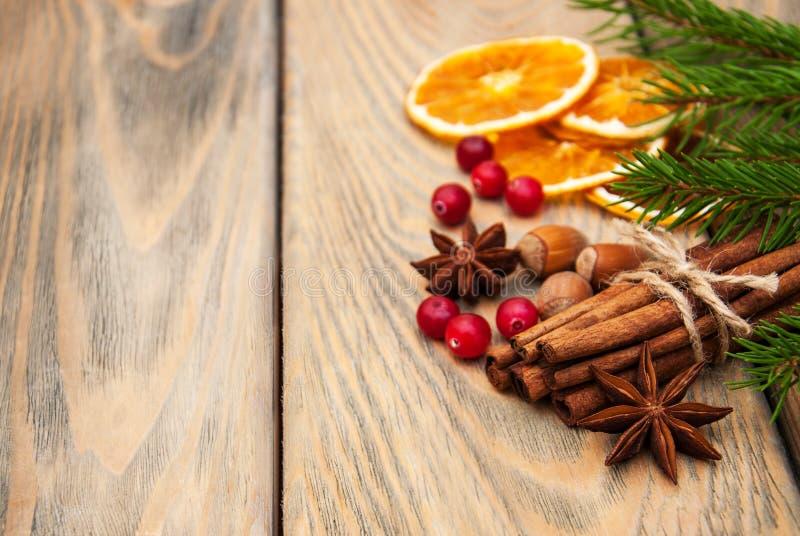 Spezie ed arance secche immagini stock