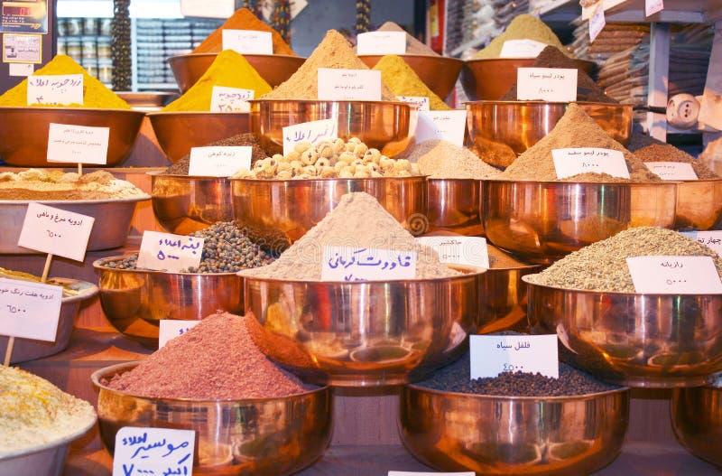 Spezie esotiche sul bazar tradizionale fotografia stock