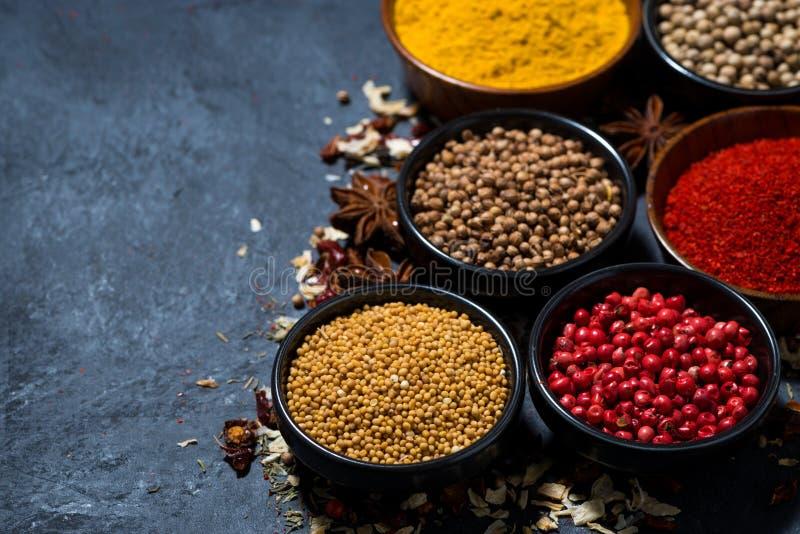 Spezie orientali aromatiche in assortimento su fondo scuro immagine stock libera da diritti