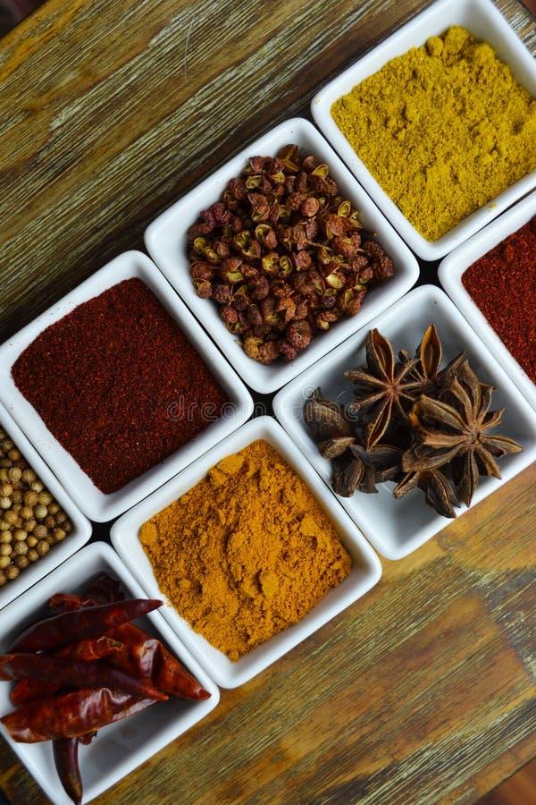 Spezie in piatti bianchi immagine stock libera da diritti