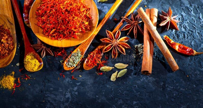 Spezie Varie spezie indiane sulla tavola di pietra nera Spezia ed erbe sul fondo dell'ardesia Assortimento dei condimenti, condim fotografia stock libera da diritti