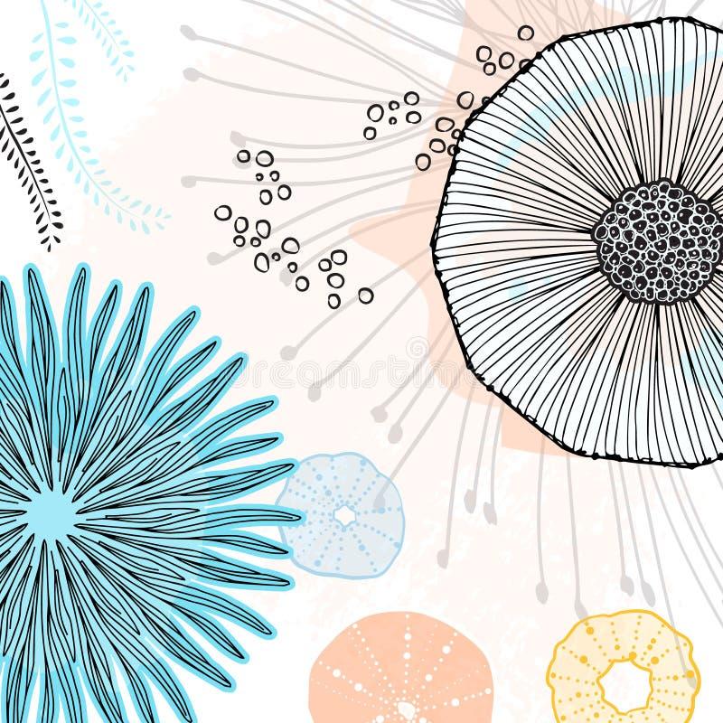 Spezielle abstrakte Malerei des Vektors On-line-Gekritzeltapete Kühle einfache Blumenelemente mit kreativem Hintergrund Blumenwan vektor abbildung