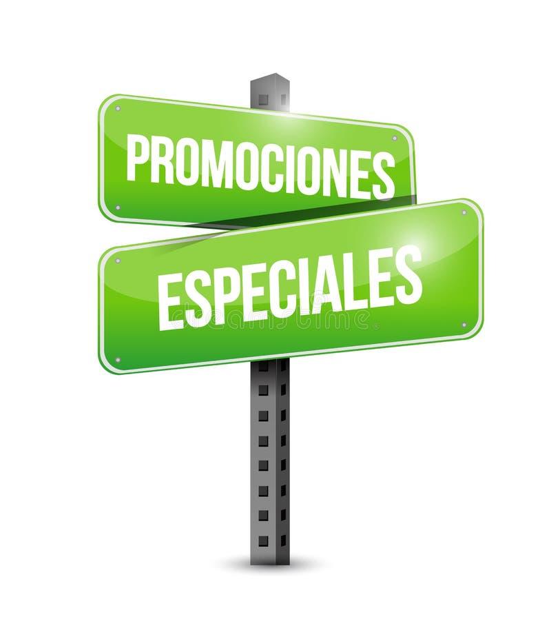 spezielle Förderungen im spanischen Straßenschildkonzept vektor abbildung