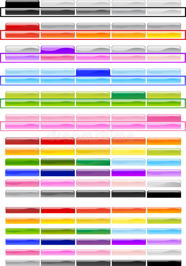 Spezielle horizontale Menü-Tasten stock abbildung
