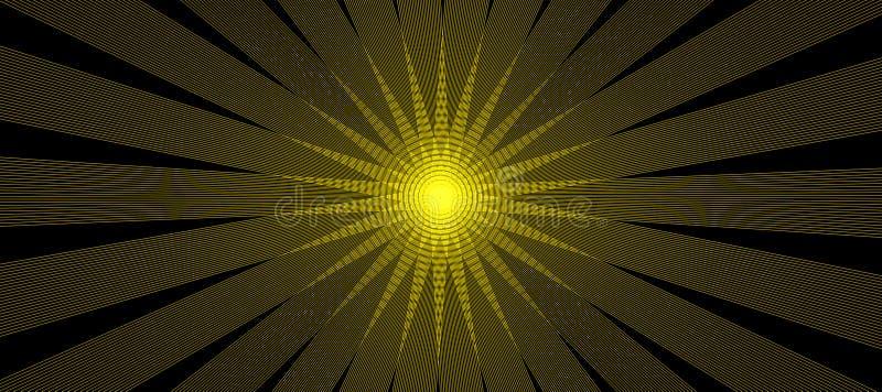 Spezielle Lichteffekte des abstrakten digitalen Blendenflecks auf schwarzen Hintergrund Abstrakte glühende Leuchten Sun Sonnendur stock abbildung