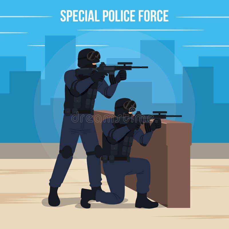Spezielle Polizeiaufgebot-Vektor-Illustration vektor abbildung
