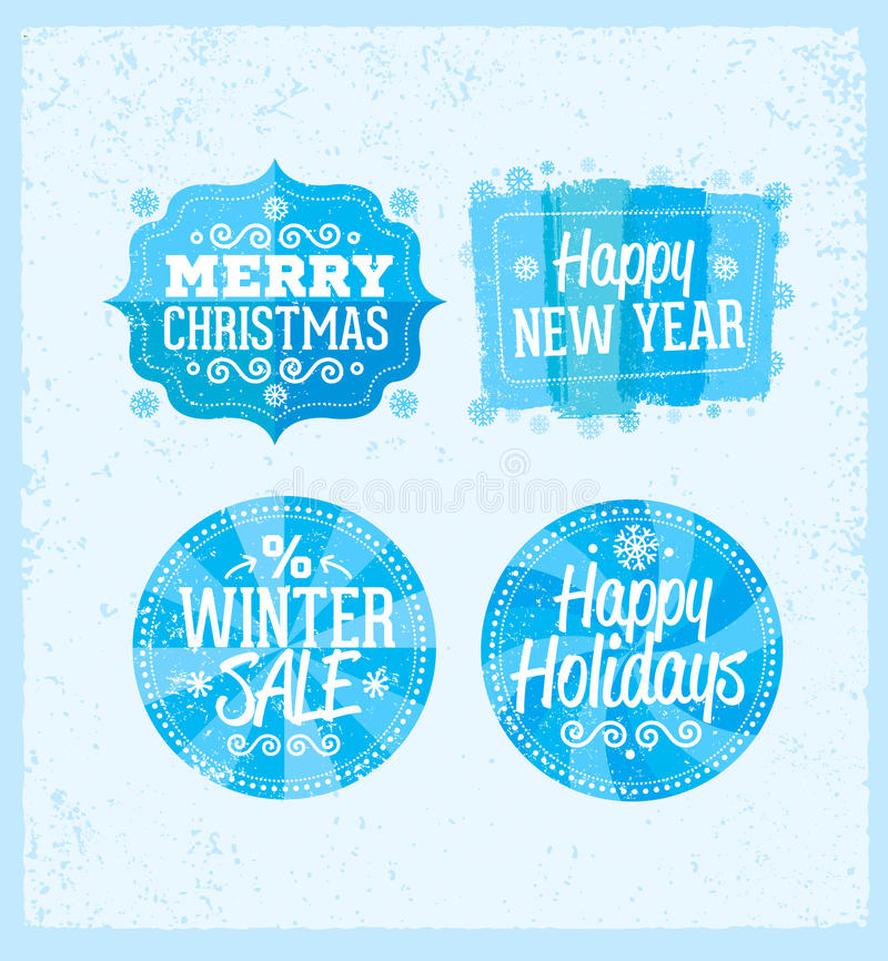 Spezielle Winterangebotfahne - simsen Sie im blauen und Weiß gezeichneten Aufkleber mit Schneeflockensymbol, Geschäftssaisoneinka stock abbildung